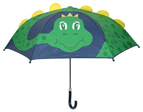 Drizzles Childrens 3D Dome Umbrella with Crook Handle Navy Blue Dinosaur