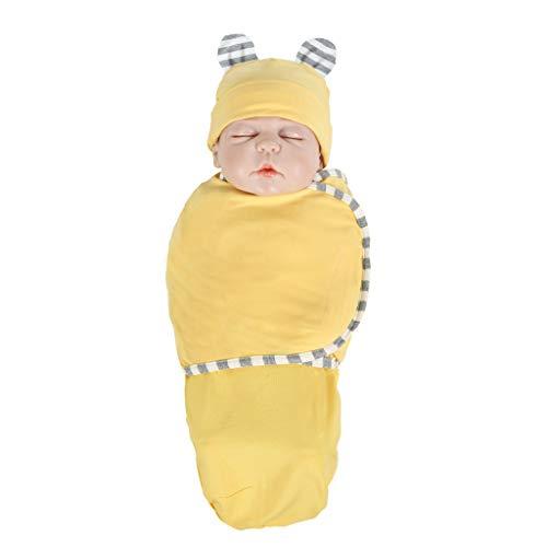 Huhu833 Ganzjahres Baby Schlafsack, Neugeborenes Baby Baumwolle Wickeln Swaddle Sack Weiche Schlafdecke Herbst Winter Swaddle Pucksack + Hut Set (Gelb)