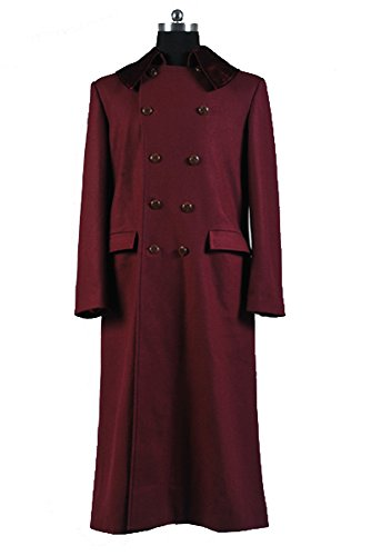Doctor Who 4th Doctor Plum Red Long Trench Wolle Coat Cosplay Kostüm Herren L