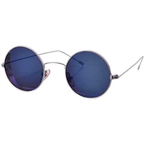 tevenger Gafas de sol redondas de níquel con protección UV400, redondas, para hombre y mujer, accesorios, color plateado, cristal azul