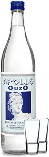 Premium OUZO Apollo aus Griechenland   milder Anis likör 700ml (Ouzo mit Gläser)