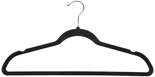 AmazonBasics Slim, Velvet, Non-Slip Clothes Suit Hangers, Black/Silver - Pack of 50
