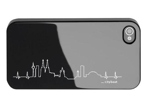 iPhone 4/4S Schutzhülle mit Bildschirmschutzfolie Skyline Köln schwarz