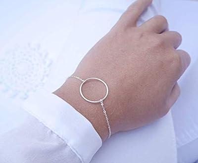 Bracelet 1 cercle argent 925 - chaîne argent - bracelet anneau argent - bijoux minimaliste fin élégant - rond argent