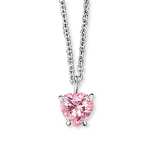Herzengel Engelsrufer - Mädchen Herz Halskette aus 925 Sterling Silber, Kinder Kette mit Herzanhänger aus Zirkonia Edelstein rosa, Mädchenschmuck Herzkette mit Anhänger