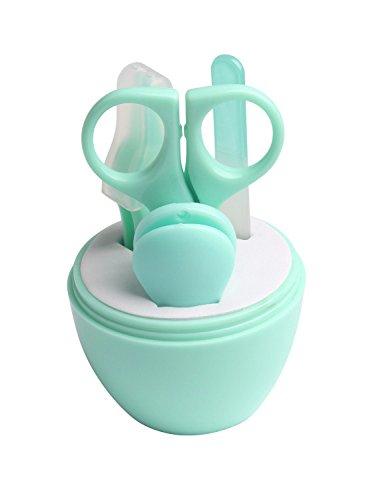 DEBAIJIA Baby Nagelpflege Set 4-teiliges, Nagelknipser Nagelschere Nagelfeile und Nasen Pinzette Neugeborene Geschenk – Grün - 2