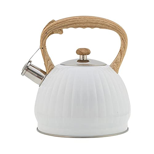 GFDFD Whistle Kettle Stainless Steel Tea Kettle Camping Kitchen Hot Water Pot With Handle Tea Pot Gas Induction Cooker