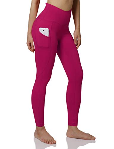 ODODOS Women's High Waist Yoga Pants with Pockets,Tummy Control,Workout Pants Running 4 Way Stretch Yoga Leggings with Pockets,Fuchsia,X-Large