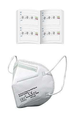 2 x Antigen Schnelltest Selbsttest Corona Pass Bescheinigung + 2 x FFP2 Mundschutz Masken Mund Nase GR200 CE 0598 (Einheitsgröße ca. 16,4 x 10,6 cm, weiß)