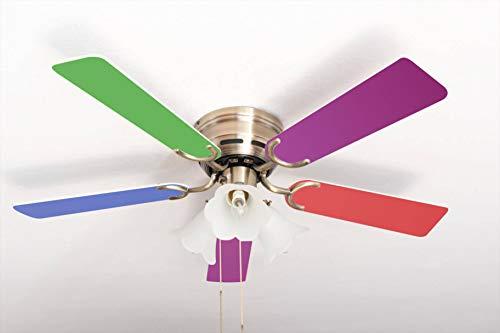 Extra flacher Deckenventilator Kisa Multicolor Messing Antik mit Beleuchtung