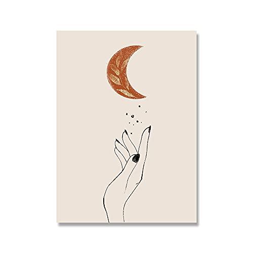 Ikogto Maluj według liczb zestawy słońce i księżyc_DIY akrylowy obraz dla dorosłych i dzieci z farbami_do dekoracji ścian domowych_30 x 40 cm_ bez obręczy
