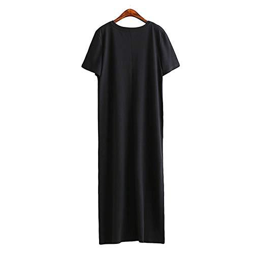 GMZVV Rok Zomer Maxi T Shirt Jurk Vrouwen Vintage Casual Party Wrap Elegant Strand Zwart Lange Jurken Plus Maat Gekleed Met Temperament En Elegantie S Zwart