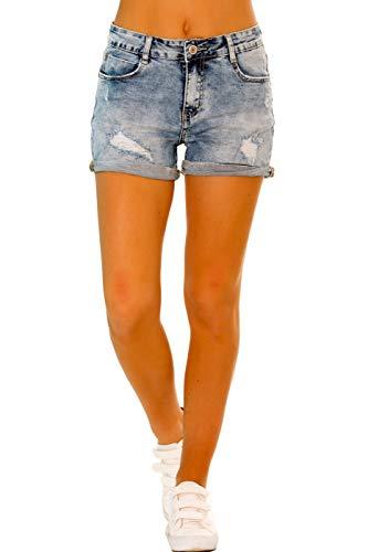 Crazy Age Damen Jeans Shorts Used Look Damaged Jeansshorts Basic in Aged-Waschung Jeans Bermuda-Shorts Kurze Hosen aus Denim für den Damen Sommer (34, R521)