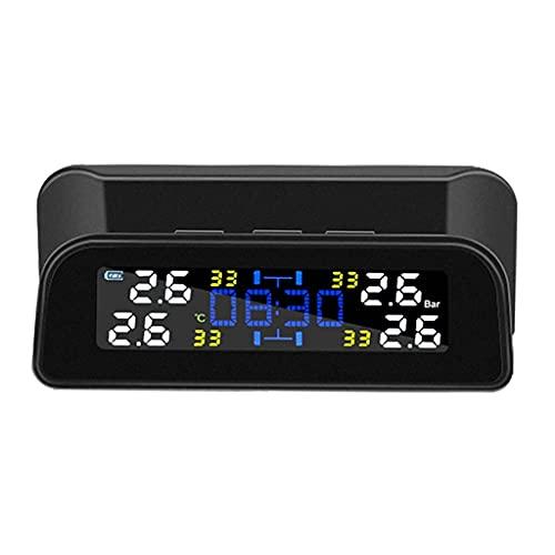 FYRMMD Sistema de Control de presión de neumáticos de Coche Carga USB Solar con 4 sensores externos Pantalla LCD Auto Tir (Monitor de neumáticos)