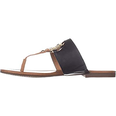 Tommy Hilfiger Womens Sia Leather Open Toe Casual Slide, Dark Blue, Size 6.5