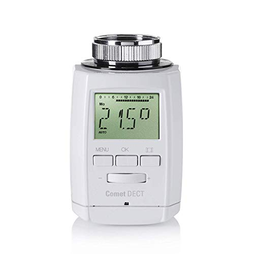 Eurotronic 700018 Comet DECT Heizkörperthermostat, bis 30{033a24986559896831b0c8ee02120cfb8b0cb1244ec93069b7342c81c23e25c1} Heizkosten sparen mit AVM FRITZ Box kompatibel, Wifi-Heizungsthermostat inkl. Adapter + Batterien, Smarthome-Zubehör