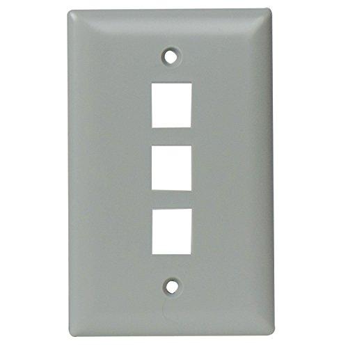 Legrand - On-Q WP3403GY - Piastra da parete a 3 porte, colore: Grigio