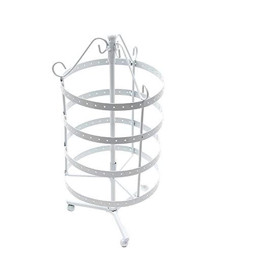 Yazilind Rotary Schmuckständer Ohrring Halskette Organizer Metall Schmuck Halter Rack (weiß)