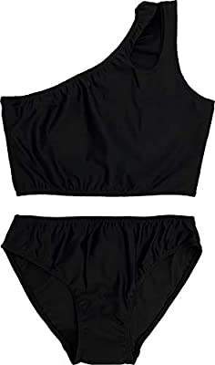 Cheryl Creations Kids Girl's Black Cute & Comfortable Two Piece One Shoulder Bathing Suit Bikini | Swimsuit