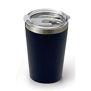 ドルチェデュオ サーモタンブラー ふた付 保温 保冷 ステンレス 真空 断熱 二重構造 カップホルダー 370ml ネイビー コンビニカップ カップコーヒー テイクアウト AM-4035