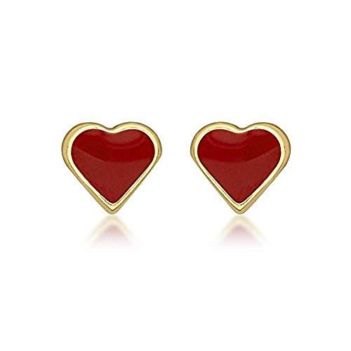 Carissima Gold Women's 9 ct Yellow Gold Red Enamel Heart 4.7 x 4.3 mm Stud Earrings