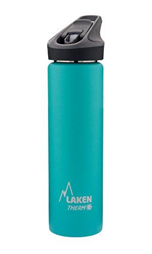 Laken Jannu Botella de Agua Térmica con Aislamiento de Vacío con Doble Pared de Acero Inoxidable 18/8. hasta 24 Horas de Frío, Turquesa, 750 ml