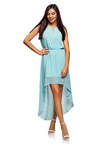 oodji Ultra Mujer Vestido de Tejido Ligero con Parte Inferior Asimétrica, Azul, ES 44 / XL