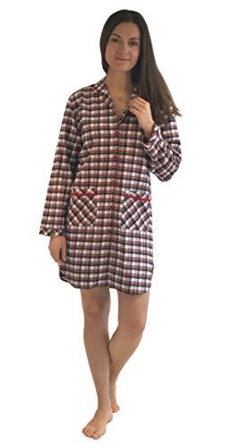 NORMANN WÄSCHEFABRIK Durchgeknöpftes Flanell Nachthemd für Damen, Kariertes Schlafkleid mit Taschen - 51175, Farbe:schwarz, Größe2:40/42