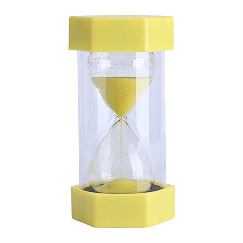 Fdit2 - Clessidra colorata in vetro sabbia 3/10/20/30/60 minuti, decorazione per casa, ufficio (3 minuti giallo)
