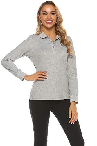 MoFiz Damen Poloshirt Langarm Baumwolle Polohemd Sport Polo Wintershirts mit Kragen Grau L