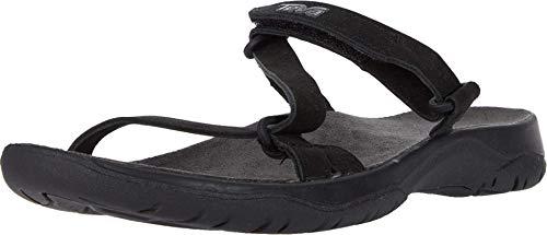 Teva Women's ELZADA Slide LEA Sandal, Black, 10.5 Medium US
