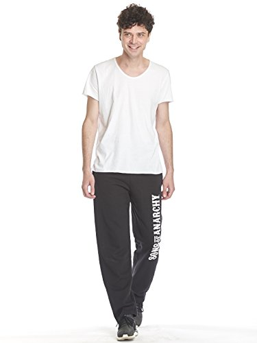 Sons of Anarchy Logo Hombre Pantalones de Deporte Negro S, 80% algodón, 20% poliéster,