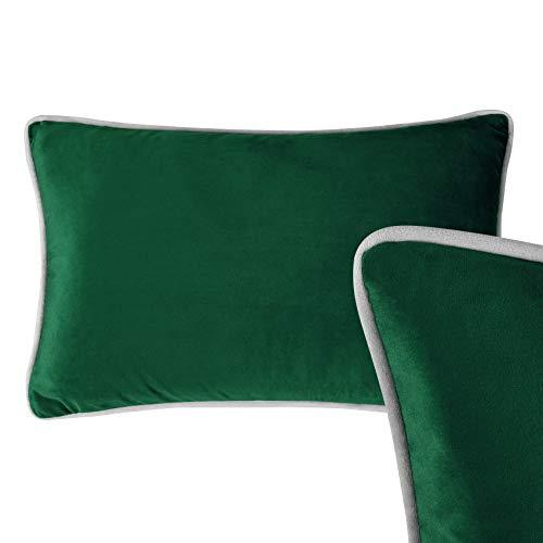 Forest Green Velvet Rectangular Cushion, 30cm x 50cm - Home Decorative Oblong Bolster Plush Scatter Pillow for Sofa, Bed and Chair Cushoo UK