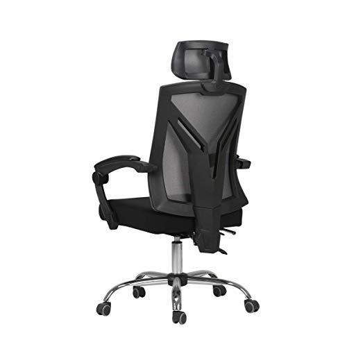 Silla de Oficina Silla de la computadora Respaldo ergonomico de elevacion giratoria cojin de la Cabeza cafe Internet en casa en Blanco y Negro sillas Gaming Drift RVTYR (Color : Black)