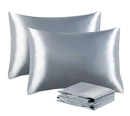 Tyfitb Luxury Silk Satin Pillowcases for Hair and Skin Set of 2 Standard Size (20×26 inches), Super Soft and Cozy, Wrinkle, Fade & Stain Resistant Body Pillow Covers with Envelope Closure, Grey