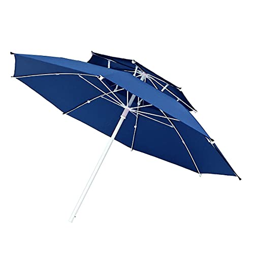 HOMEJYMADE Sombrilla de doble capa de 2,4 m, 8 mm de grosor, ajustable, para exteriores, pesca, camping, refugio (azul)