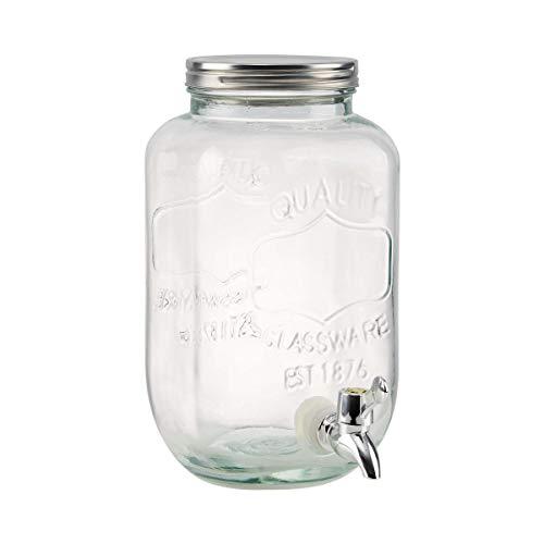BUTLERS Refresh Getränkespender 4 Liter aus Glas - Wasserspender mit Zapfhahn - Retro Saftspender im Mason Jar Design