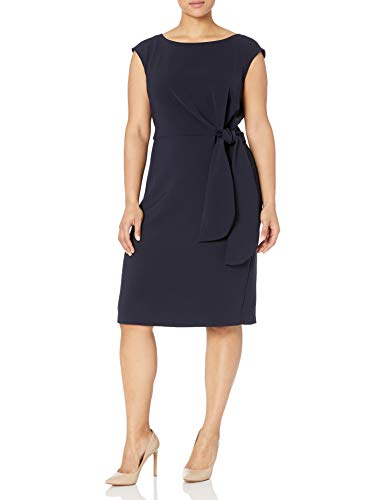 Tahari ASL Women's Plus Size Side Tie Pencil Skirt Dress, Navy, 18W