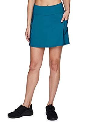 RBX Active Women's Fashion Stretch Knit Flat Front Golf/Tennis Athletic Skort with Attached Bike Short and Pockets Teal M