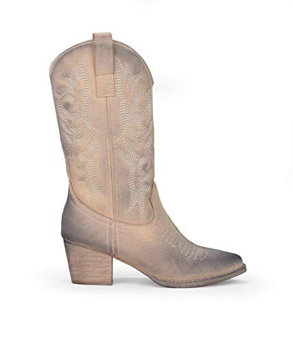 BOSANOVA Botas Cowboy confeccionadas en Material de Ante con Detalle de Cosido Decorativo en la caña, tacón de 5'5 cm y Cierre con Cremallera. Arena 40
