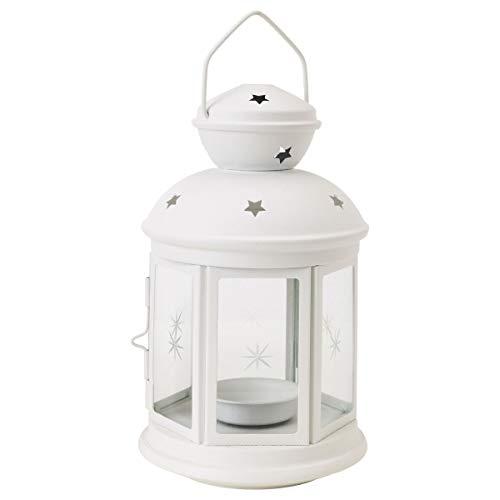 2er Set IKEA ROTERA Windlichter für Teelicht 21cm in weiß / outdoor