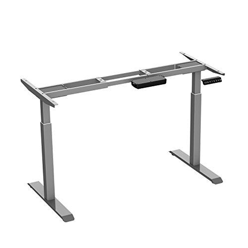 AIMEZO Höhenverstellbarer Schreibtisch Elektrisch Höhenverstellbares Tischgestell, Dual Motor 2-Bühne Hebe Beine, Mit 4 Automatischen Speichertastaturen und Stützlast 120kg (Grau)