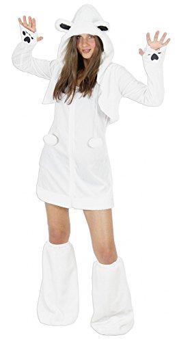 Foxxeo Eisbären Kostüm für Damen Tierkostüme sexy Kleid für Karneval und Fasching Erwachsene Größe XL