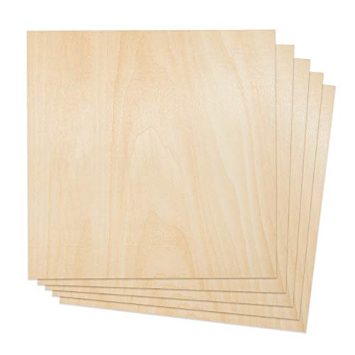 Plywood Sheet Board Squares, A Grade, 12 x 12 inch, 1.5mm Thick, Pack of 5 for Crafts Basswood Sheets by Craftiff