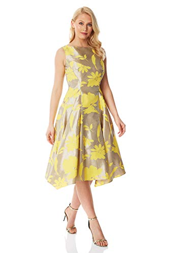 Roman Originals dames jacquard-fit-and-fluwelen jurk - dames skatejurk voor avonds, party's, mouwloos, metallic, midi, lang, boothals, baljurk