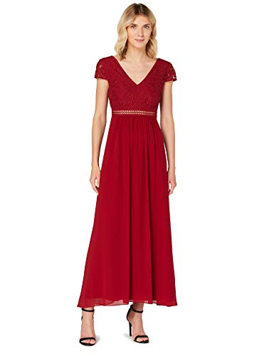 TRUTH & FABLE Damen Maxi Chiffon-Kleid mit A-Linie, Rot (Rhabarber), 36, Label:S