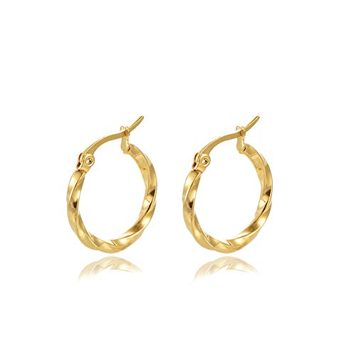 Yumay Twisted Hoop Earrings for Women and Girls (20MM)