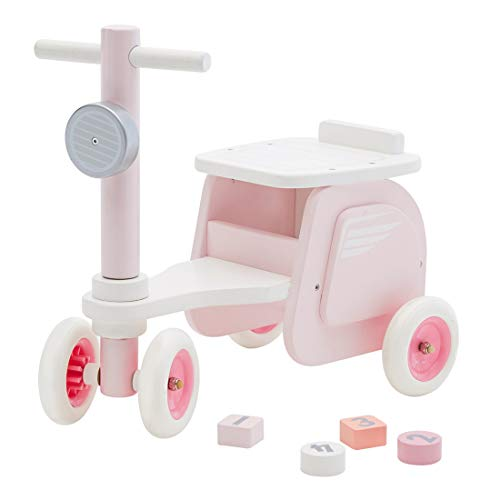 labebe Baby Pink Stylish Wooden Ride On Bike Motorcycle Shaped Balance Bike No Pedal 4 Wheels Push & Pull Toy for Children Toddler 1-3 Years Indoor Outdoor
