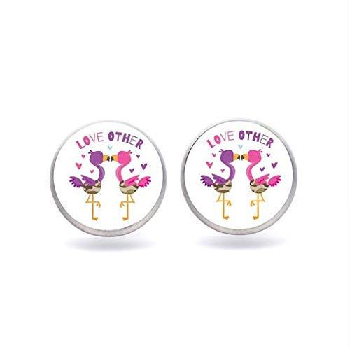 Pendientes de flores de flamenco, bonitos pendientes de cristal, diseño de pájaros, joyería para niñas