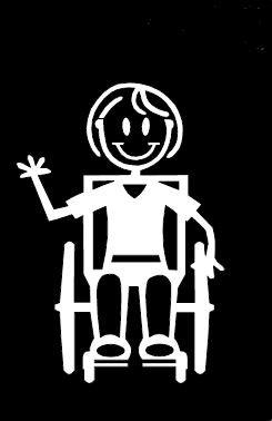 My Stick Figure Family Autoaufkleber Aufkleber Sticker Decal Mädchen Rollstuhlfahrer G14